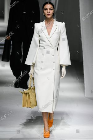 Mariacarla Boscono on the catwalk wearing an outfit from the women s ready to wear collections, spring summer 2021, original creation, during the Womenswear Fashion Week in Milan, from the house of Fendi