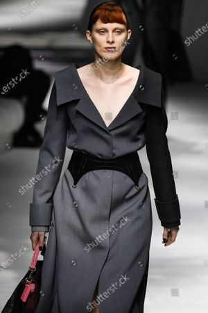 Stock Picture of Karen Elson on the catwalk wearing an outfit from the women s ready to wear collections, spring summer 2021, original creation, during the Womenswear Fashion Week in Milan, from the house of Fendi