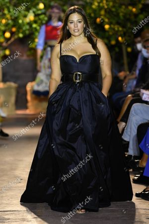Ashley Graham on the catwalk wearing an outfit from the women s ready to wear collections, spring summer 2021, original creation, during the Womenswear Fashion Week in Milan, from the house of Etro
