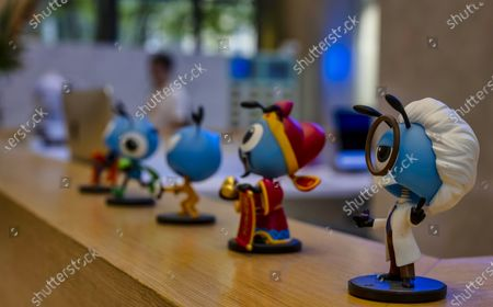 A row of ant mascots are visible at the reception desk of the Ant Group headquarters in Hangzhou, China, 27 September 2020 (issued 28 September 2020). Ant Group is the parent company of China's largest mobile payments business Alipay and leading provider of financial services technology. The Alipay mobile application serves over 1 billion annual active users, according to the company. Ant group is an affiliate company of the Alibaba Group founded by billionaire Jack Ma and it is preparing a simultaneous initial public offering (IPO) in Hong Kong and Shanghai.