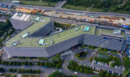 A picture made with a drone shows Ant Group headquarters in Hangzhou, China, 27 September 2020 (issued 28 September 2020). Ant Group is the parent company of China's largest mobile payments business Alipay and leading provider of financial services technology. The Alipay mobile application serves over 1 billion annual active users, according to the company. Ant group is an affiliate company of the Alibaba Group founded by billionaire Jack Ma and it is preparing a simultaneous initial public offering (IPO) in Hong Kong and Shanghai.