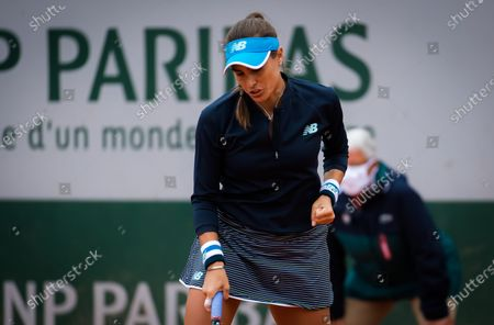 Stock Picture of Monica Puig of Puerto Rico in action during the first round at the 2020 Roland Garros Grand Slam tennis tournament