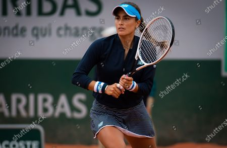 Monica Puig of Puerto Rico in action during the first round at the 2020 Roland Garros Grand Slam tennis tournament
