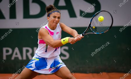 Sara Errani of Italy in action during the first round at the 2020 Roland Garros Grand Slam tennis tournament