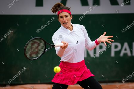Stock Image of Andrea Petkovic of Germany in action during the first round at the 2020 Roland Garros Grand Slam tennis tournament
