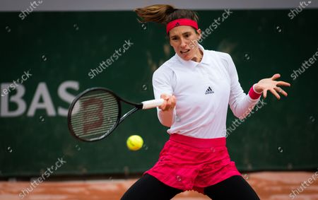 Andrea Petkovic of Germany in action during the first round at the 2020 Roland Garros Grand Slam tennis tournament