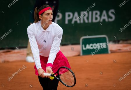 Stock Photo of Andrea Petkovic of Germany in action during the first round at the 2020 Roland Garros Grand Slam tennis tournament