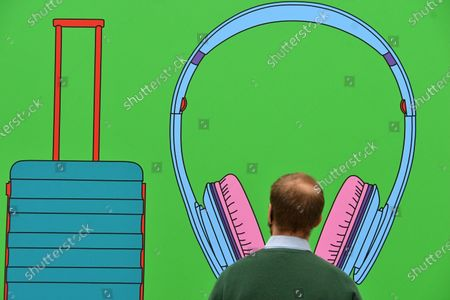 Sir Michael Craig-Martin, Untitled (with suitcase), at Royal Academy of Arts Summer Exhibition