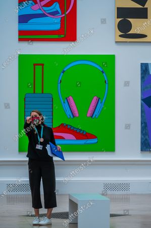 Untitled by Michael Craig-Martin (with Suitcase £144,000) andf oither works - The Royal Academy (RA) Summer (Winter) Exhibition 2020, which was delayed due to the impact of the Coronavirus lockdown.