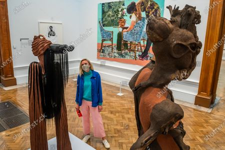 Blend in-Stand Out by Njideka Crosby, not for sale with Sacrum Heart and Sentinel IV by Wangechi Mutu - The Royal Academy (RA) Summer (Winter) Exhibition 2020, which was delayed due to the impact of the Coronavirus lockdown.