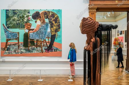 Stock Picture of Blend in-Stand Out by Njideka Crosby, not for sale with Sacrum Heart and Sentinel IV by Wangechi Mutu - The Royal Academy (RA) Summer (Winter) Exhibition 2020, which was delayed due to the impact of the Coronavirus lockdown.