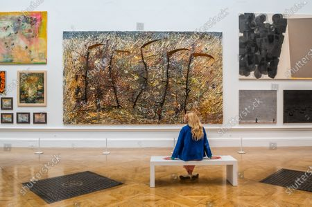 Vier Plus Eins by Anselm Kiefer and other works in room III - The Royal Academy (RA) Summer (Winter) Exhibition 2020, which was delayed due to the impact of the Coronavirus lockdown.
