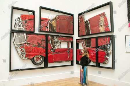Stock Photo of Press Preview of  The Royal Academy (RA) 2020 Summer Exhibition, which was delayed due to effects of coronavirus .OH LORD, WON'T YOU BUY ME? Ron Arad RA, steel rubber ad paint £324,000.