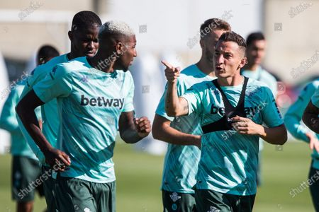 Emerson Royal and Andres Guardado during training of Real Betis Balompie at Luis del Sol Sport City on September 28, 2020 in Sevilla, Spain.