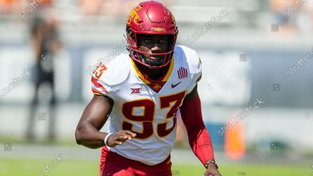 Iowa State defensive tackle Isaiah Lee (93) defends during an NCAA football game against TCU on in Fort Worth, Texas. Iowa won 37-34