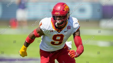 Iowa State defensive end Will McDonald IV (9) defends during an NCAA football game against TCU on in Fort Worth, Texas. Iowa won 37-34
