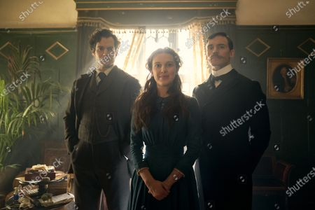 Henry Cavill as Sherlock Holmes, Millie Bobby Brown as Enola Holmes and Sam Claflin as Mycroft Holmes