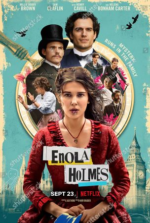 Enola Holmes (2020) Poster Art. Clockwise from top. Henry Cavill as Sherlock Holmes, Louis Partridge as Tewkesbury, Susan Wokoma as Edith, Adeel Akhtar as Lestrade, Millie Bobby Brown as Enola Holmes, Helena Bonham Carter as Eudoria Holmes and Sam Claflin as Mycroft Holmes