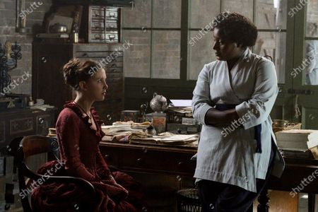 Millie Bobby Brown as Enola Holmes and Susan Wokoma as Edith