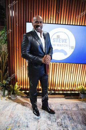"Steve Harvey poses for a portrait on in Atlanta. Harvey says his daytime talk show being canceled by NBC opened up new doors with Facebook Watch. The comedian launched ""Steve on Watch"" on the streaming platform"