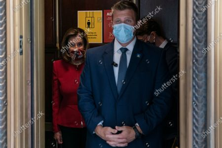Stock Image of US House Speaker Nancy Pelosi, (D-CA), enters an elevator at the US Capitol in Washington, DC, USA, 28 September 2020.
