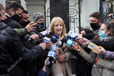 The elected mayor of Montevideo, Carolina Cosse, speaks with the press after a meeting with former Uruguayan president Tabare Vazquez, in Montevideo, Uruguay, 28 September 2020. The Frente Amplio (FA), a left-wing coalition that ruled Uruguay between 2005 and 2020 and has done so in Montevideo since 1990, will continue to lead the capital's Intendency, while 13 of the 18 remaining departments (provinces) will be governed by the National Party (center right).