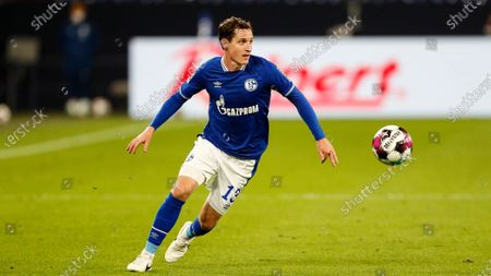 Schalke's Sebastian Rudy plays the ball during the German Bundesliga soccer match between FC Schalke 04 and Werder Bremen in Gelsenkirchen, Germany