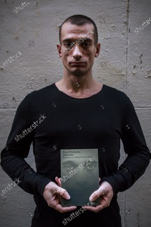 Stock Image of Russian political performance artist Pyotr Pavlensky poses for photographs during an event to promote his new book 'Theoremes' (theorems) in Paris, France, 28 September 2020. Pavlenski claimed to have released a compromising video online that ended the French ruling party candidate Benjamin Griveaux's hopes of becoming Mayor of Paris
