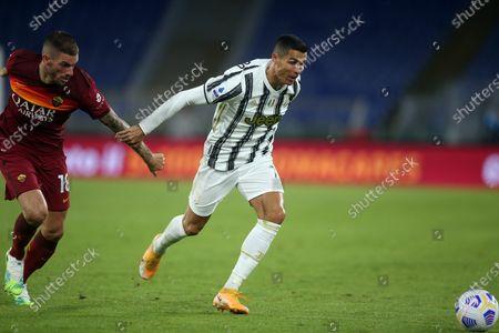 Rome, Italy - 27/09/2020: Davide Santon (AS ROMA), CR7 Cristiano Ronaldo (JUVENTUS)