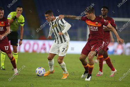 Stock Picture of Rome, Italy - 27/09/2020: CR7 Cristiano Ronaldo (JUVENTUS), Javier Pastore (AS ROMA)