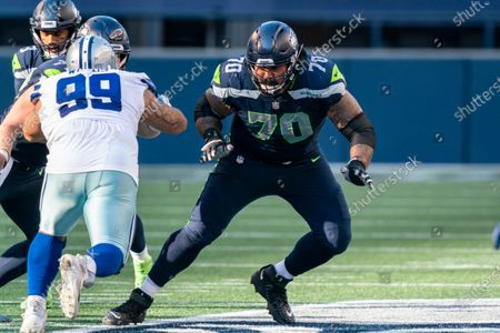 Stock Image of Seattle Seahawks offensive lineman Mike Iupati is pictured during the second half of an NFL football game, against the Dallas Cowboys, in Seattle. The Seahawks won 38-31