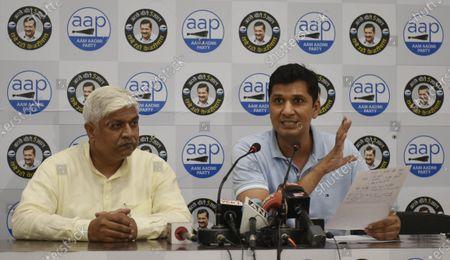Aam Aadmi Party (AAP) spokesperson Saurabh Bhardwaj (R) along with Senior AAP leader and Delhi Cabinet Minister Rajendra Pal Gautam (L) address the media regarding atrocities and crimes against Dalits in Uttar Pradesh, at DDU Marg Party Office  on September 28, 2020 in New Delhi, India.