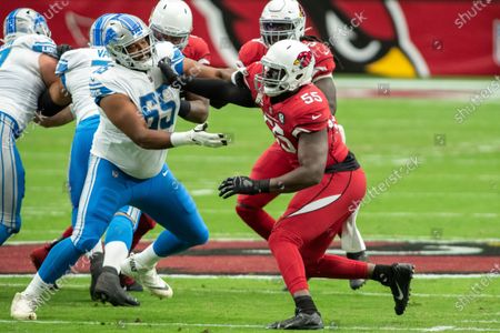 Arizona Cardinals linebacker Chandler Jones (55) in action against Detroit Lions offensive tackle Tyrell Crosby (65) during an NFL football game, in Glendale, Ariz. The Lions won 26-23