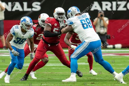 Arizona Cardinals linebacker Chandler Jones (55) in action against Detroit Lions offensive tackle Taylor Decker (68) during an NFL football game, in Glendale, Ariz. The Lions won 26-23