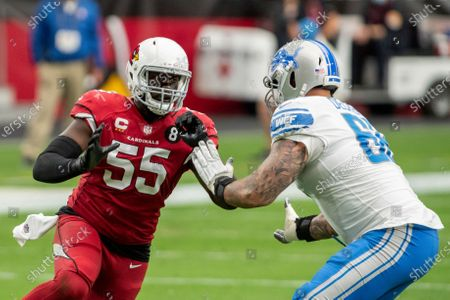 Arizona Cardinals linebacker Chandler Jones (55) in action Detroit Lions offensive tackle Taylor Decker (68) during an NFL football game, in Glendale, Ariz. The Lions won 26-23