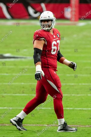 Arizona Cardinals offensive guard Justin Pugh (67) laughs on the field during an NFL football game against the Detroit Lions, in Glendale, Ariz. The Lions won 26-23