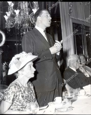 The Earl Of Harewood Making His Speech When He Proposed A Toast To Covent Garden And Mr. David Webster At The Foyle's Literary Luncheon To Commemorate The Centenary Of Covent Garden Opera House. On His Right Is The Greek Ambassador's Wife Mrs G Seferiades....royalty 7th Earl And Countess Of Harewood (dates) 1958