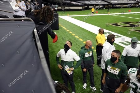 Green Bay Packers head coach Matt LaFleur is interviewed by NBC Sports reporter Michele Tafoya during an NFL football game against the New Orleans Saints, in New Orleans