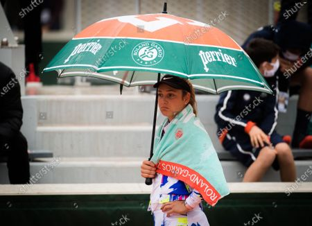 Donna Vekic of Croatia during a rain delay interrupting the first round at the 2020 Roland Garros Grand Slam tennis tournament
