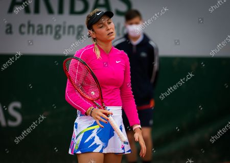 Donna Vekic of Croatia in action during the first round at the 2020 Roland Garros Grand Slam tennis tournament