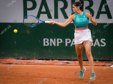 Julia Goerges of Germany in action during the first round at the 2020 Roland Garros Grand Slam tennis tournament