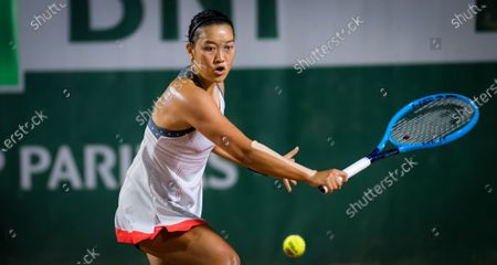 Harmony Tan of France in action during the first round at the 2020 Roland Garros Grand Slam tennis tournament