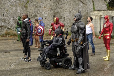 Editorial image of Superheroes come together for 10 year old boy, Saint-Chamond, France - 27 Sep 2020