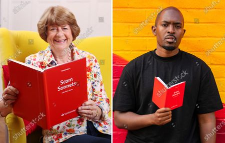 Stock Image of Poets Pam Ayres and Suli Breaks turn financial crimes into rhymes to create 'Scam Sonnets', partnering with Santander to raise awareness of investment fraud ahead of National Poetry Day, 1st October