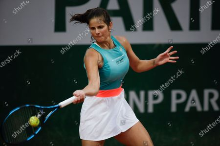Germany's Julia Georges plays a shot against Alison Riske of the U.S. in the first round match of the French Open tennis tournament at the Roland Garros stadium in Paris, France