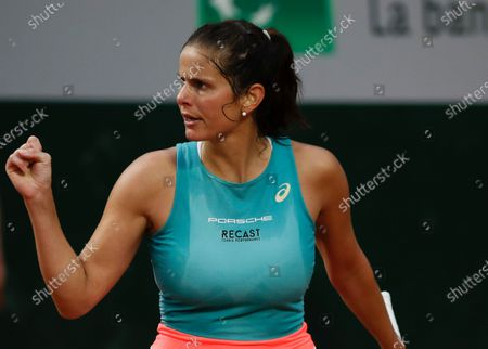 Germany's Julia Georges clenches her fist after scoring a point against Alison Riske of the U.S. in the first round match of the French Open tennis tournament at the Roland Garros stadium in Paris, France
