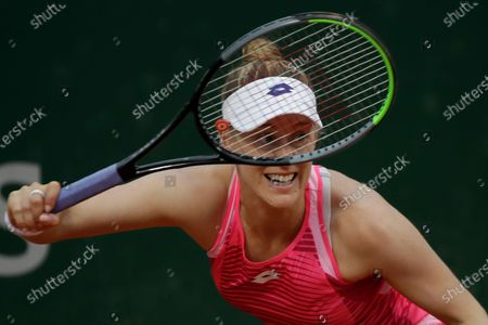 Alison Riske of the U.S. plays a shot against Germany's Julia Georges in the first round match of the French Open tennis tournament at the Roland Garros stadium in Paris, France