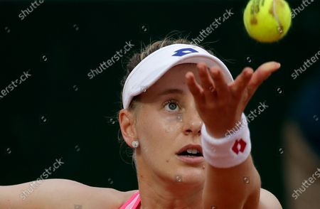 Alison Riske of the U.S. serves against Germany's Julia Georges in the first round match of the French Open tennis tournament at the Roland Garros stadium in Paris, France