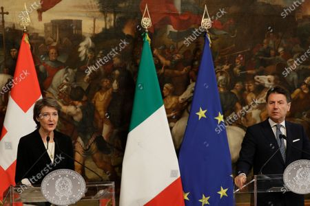 Italian Premier Giuseppe Conte and Swiss Confederation President Simonetta Sommaruga give a joint press conference following their meeting at Chigi Palace, in Rome