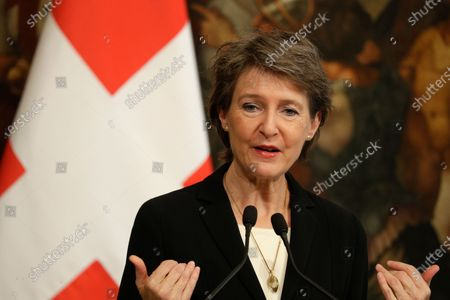Swiss Confederation President Simonetta Sommaruga speaks during a joint press conference with Italian Premier Giuseppe Conte following their meeting at Chigi Palace, in Rome